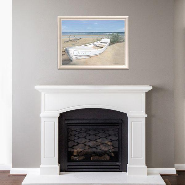 Wall Art - Hamptons White Yacht Beach Framed Wall Art 102 By 77 Cm | Hamptons Home
