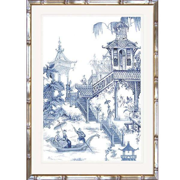 Hamptons Willow Blue And White Chinoiserie Bamboo Framed Wall Art (Design 1) 63.2 Cm By 83.2 Cm