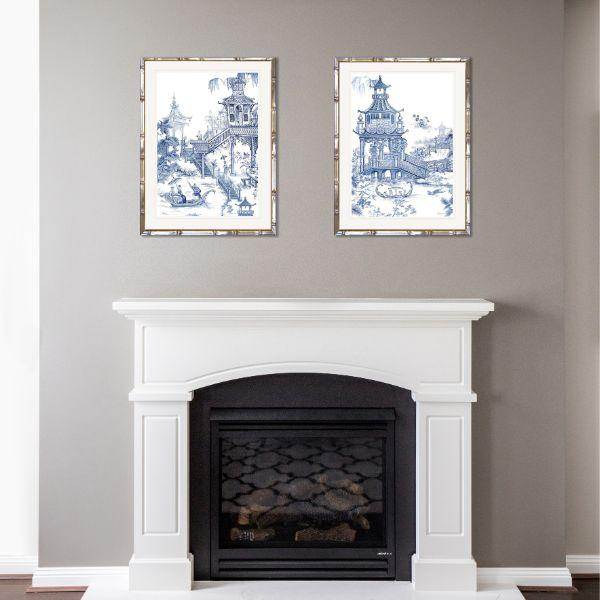 Hamptons Willow Blue And White Chinoiserie Framed Wall Art (Design 2) 63.2 Cm By 83.2 Cm By 3.5 Cm