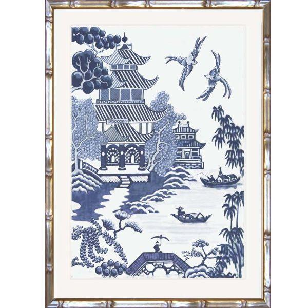 Willow Blue and White Chinoiserie Bamboo Framed Wall Art | Hamptons Home