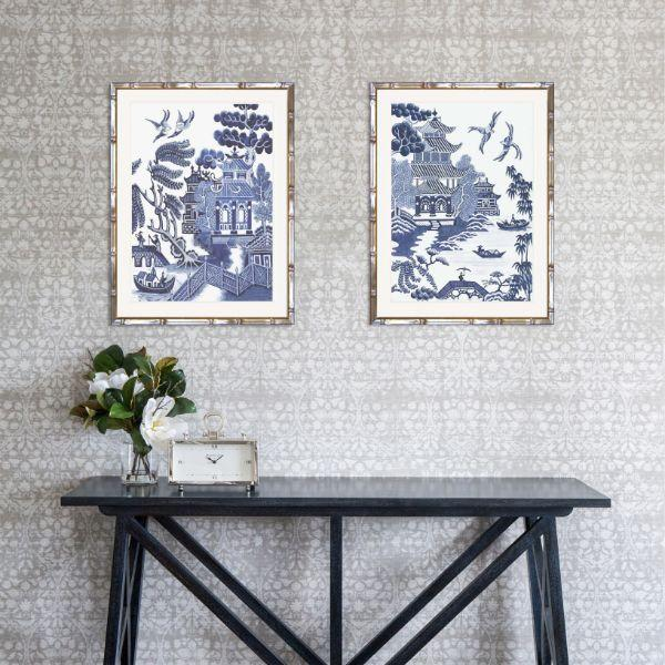 Hamptons Willow Blue And White Chinoiserie Bamboo Framed Wall Art (Design 4) 71.5 Cm By 91.5 Cm