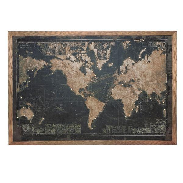 Wall Art - Map Of The World With Lights Black Face 120 Cm H