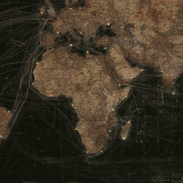 Map Of The World with Lights Black Face 120 cm H | Hamptons Home