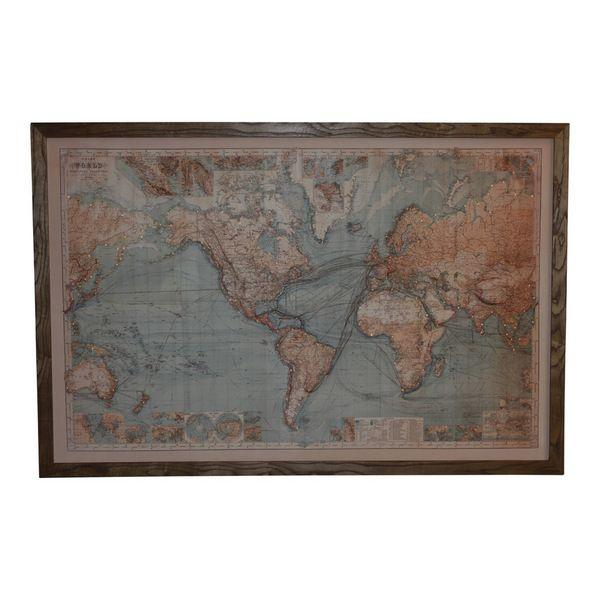 Map Of The World with Lights Wall Art 120 cm H | Hamptons Home