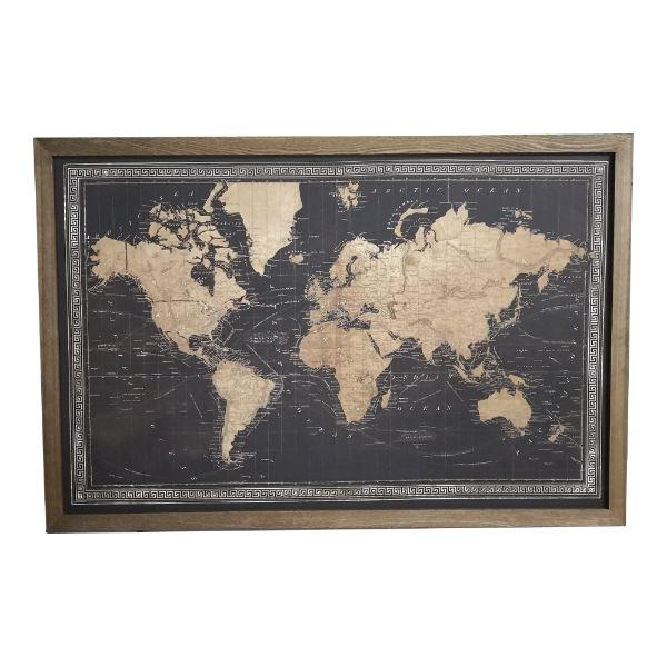 Wall Art - Map Of World Black With Border Wall Art – LED 80 Cm H