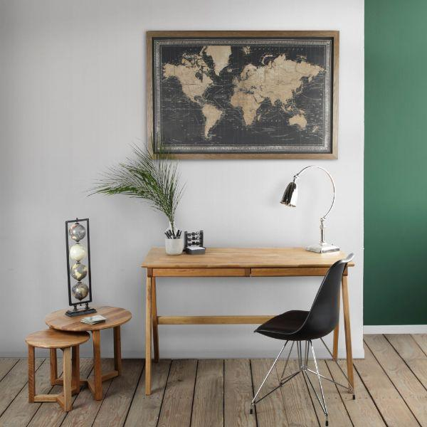 Map Of World Black With Border Wall Art – LED 80 cm H | Hamptons Home