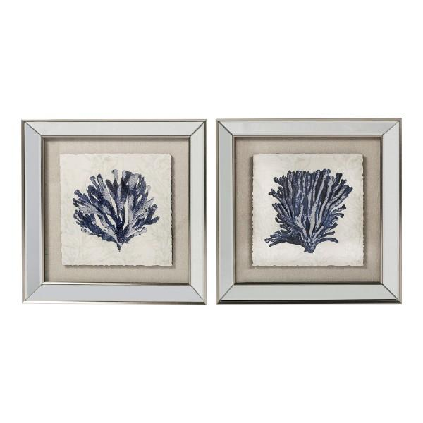 Wall Art - Mirrored Dark Blue Coral Prints Set Of 2 | Hamptons Home