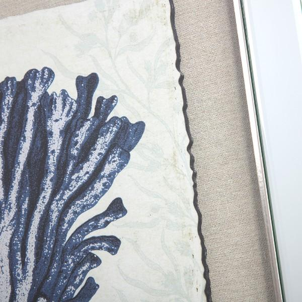 Wall Art - Mirrored Dark Blue Coral Prints Set Of 2