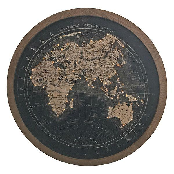Round Black Face Map with Lights Wall Art 100 cm H | Hamptons Home