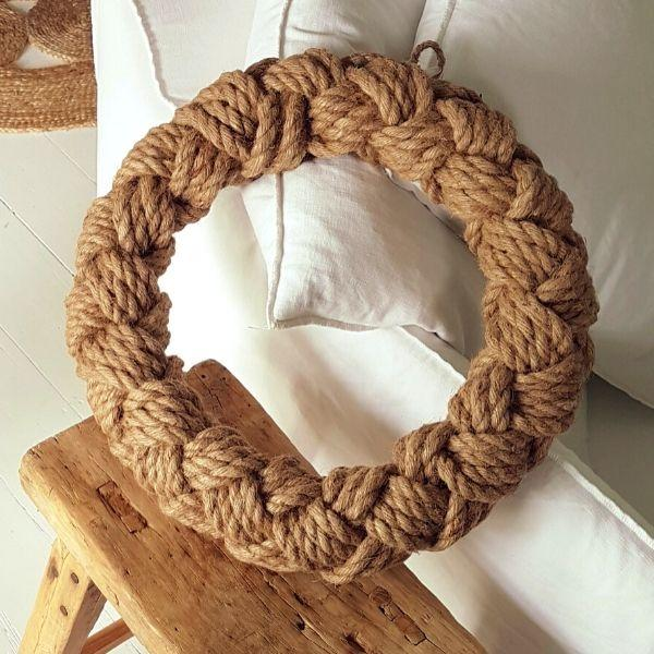 Wall Art - Sisal Rope Wreath 40 Cm + Wall Hook + Bow Bundle