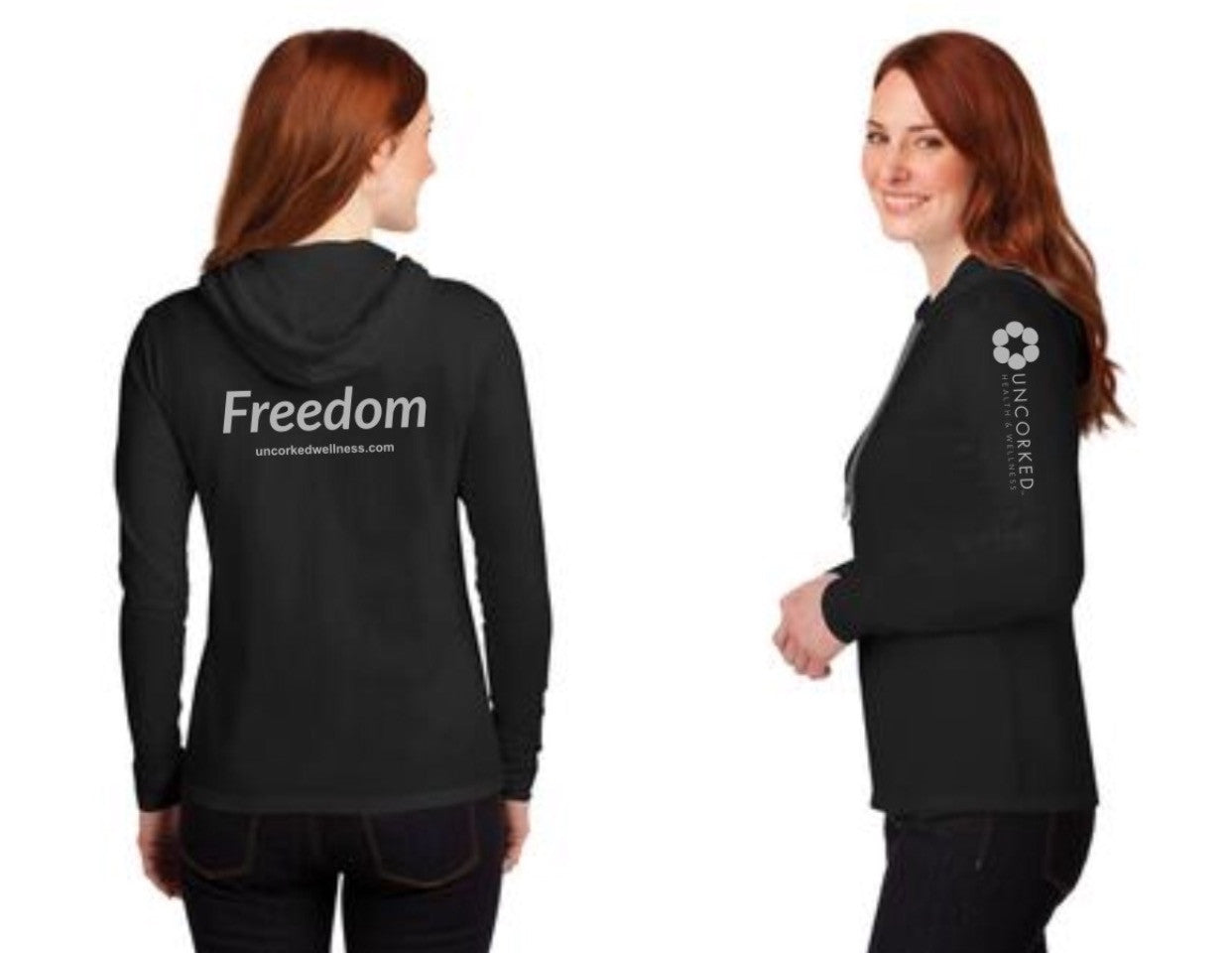 "Ladies ""Freedom"" 100% Ring Spun Cotton Long-Sleeve Hooded T-Shirt"