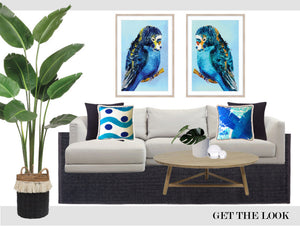 GET THE LOOK - Blue Budgie hand painted fine art prints
