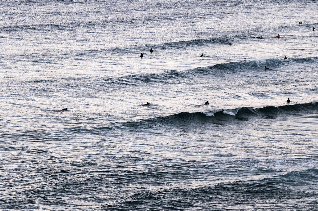 Nightfall Surfers | Limited edition ocean style fine wall art print by Lauren Daly