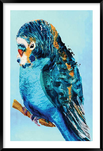 BLUE BUDGIE #1 * Contemporary, hand painted, fine art print
