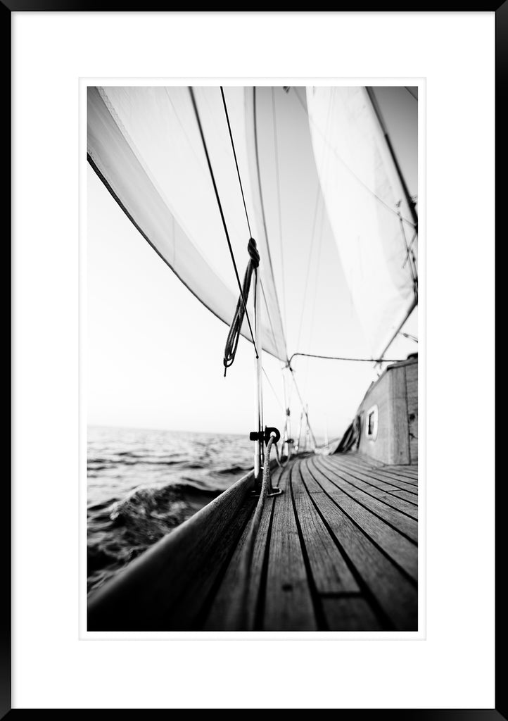 SAIL AWAY 1 B&W *  Hampton's inspired, coastal wall art fine art print