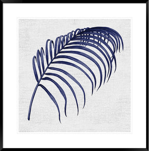 Hampton's Blue Palm #3 * Coastal style, hand painted, fine art print