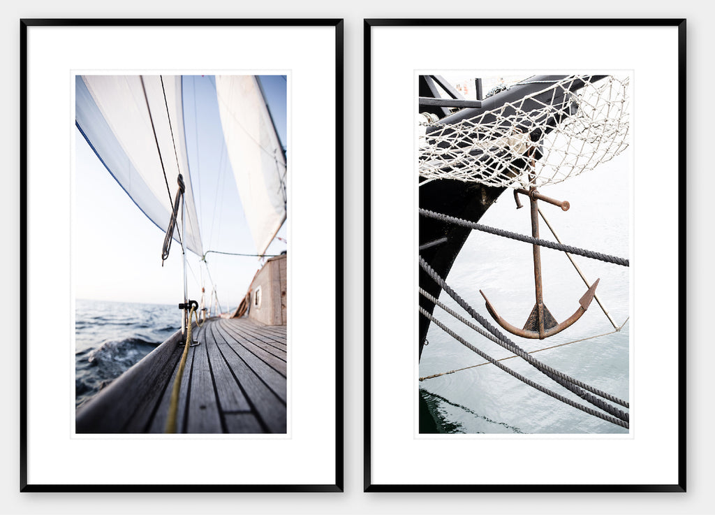 Sail Away 1 & 2 Pair - Black Frame - Coastal, Hampton's style wall art