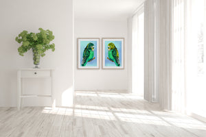 GREEN BUDGIE 1 * Hand painted giclee fine art prints