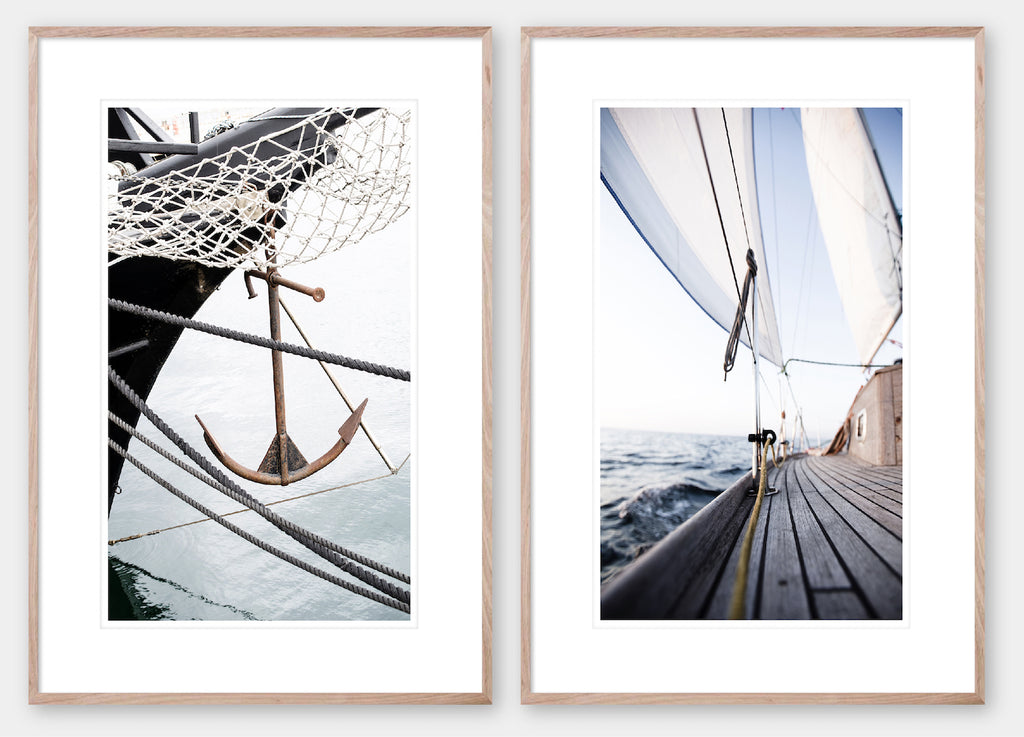 Sail Away 1 & 2 Pair - Oak Frame - Coastal, Hampton's style wall art