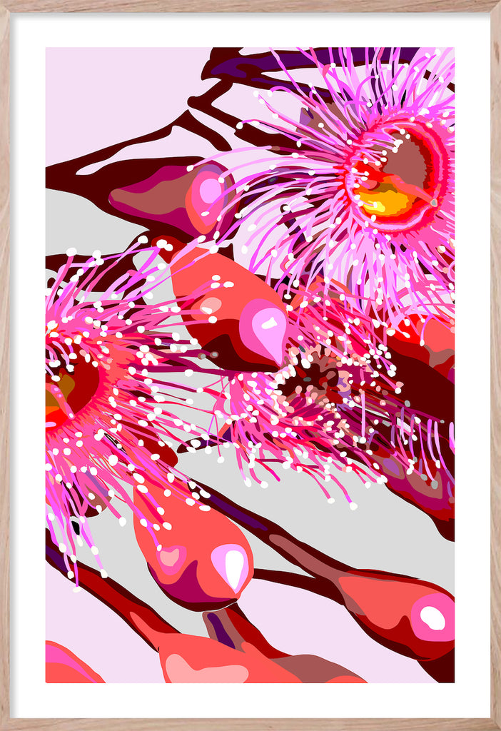 PINK GUM #4 * Contemporary hand painted floral fine wall art print