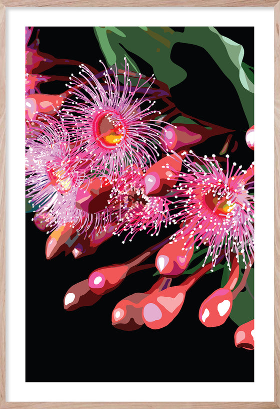 PINK GUM #1 * Contemporary hand painted floral fine wall art print