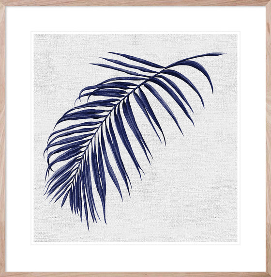 Hampton's Blue Palm #1 * Coastal style, hand painted, fine art print