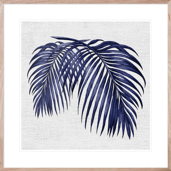 Hampton's Blue Palm #2 * Coastal style, hand painted, fine art print