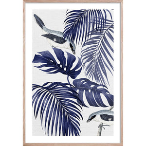 PLANTATION BLUE 1 Contemporary, tropical palm fine wall art print