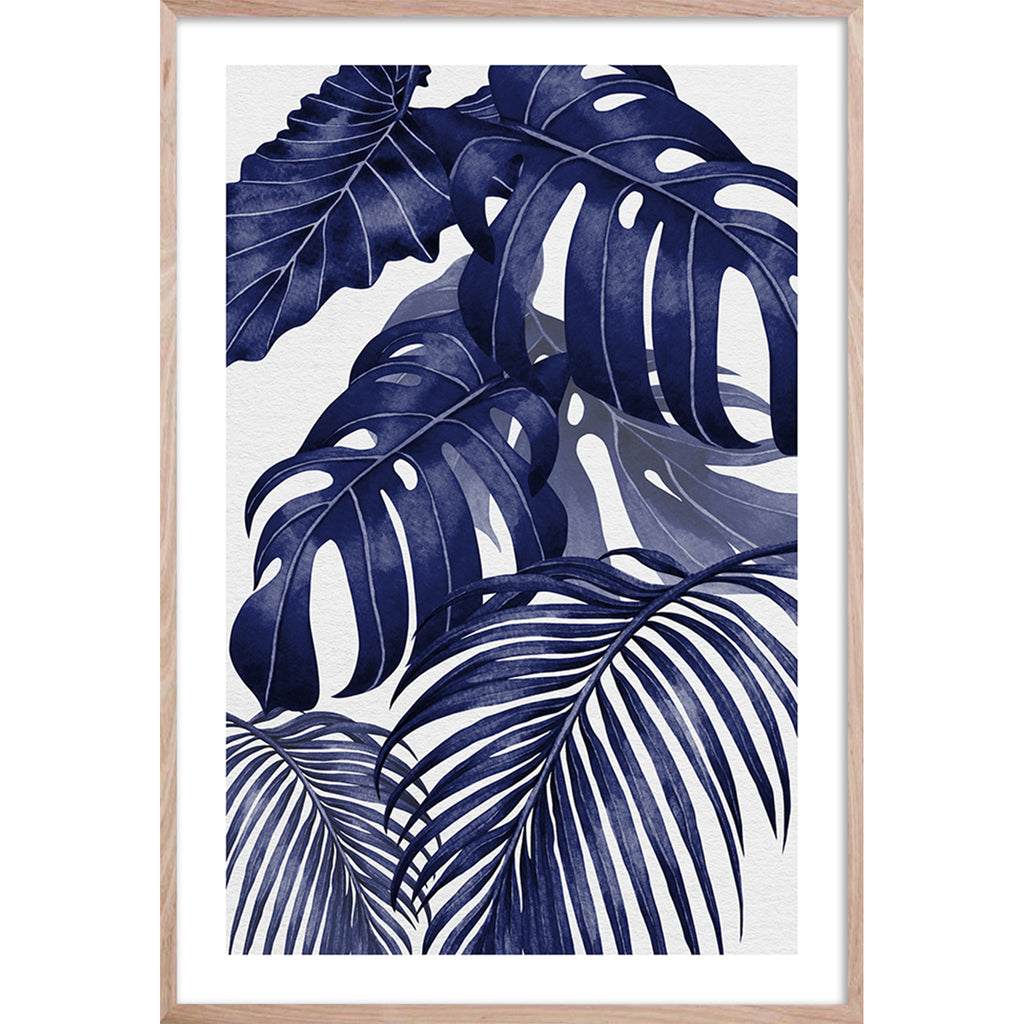 PLANTATION BLUE 2 * Contemporary, tropical palm fine wall art print