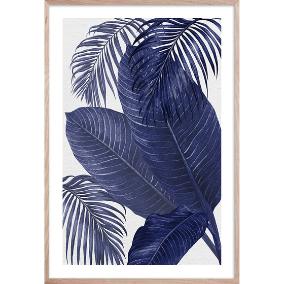 PLANTATION BLUE 3 * Contemporary, tropical palm fine wall art print