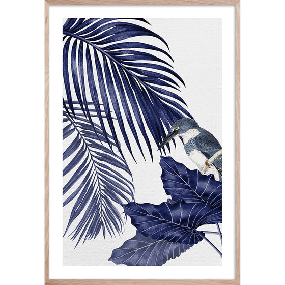 PLANTATION BLUE 4 * Contemporary, tropical palm fine wall art print