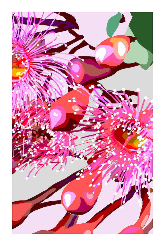 PINK GUM #3 | Contemporary floral fine art print with white border