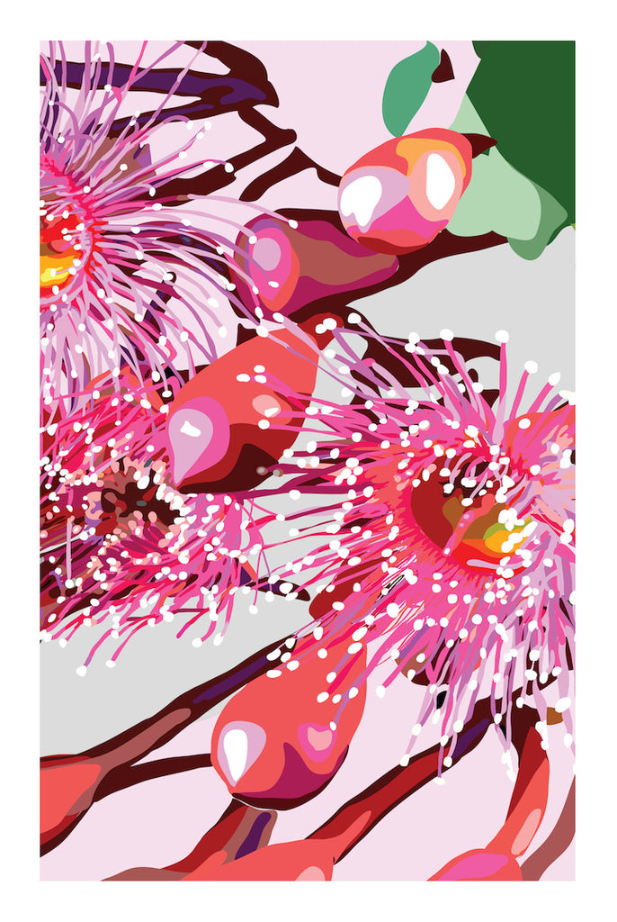 PINK GUM #3 * Contemporary floral hand painted fine wall art print