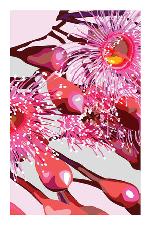 PINK GUM #4| Contemporary floral fine art print with white border