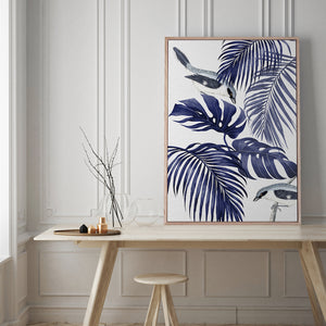 Plantation Blue 1 Canvas Print | Tropical Botanical Style Wall Art