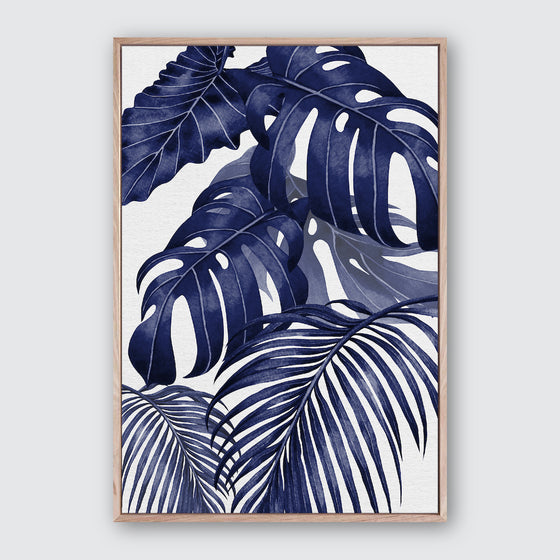 Plantation Blue 2 Canvas Print | Tropical Botanical Style Wall Art
