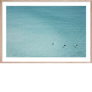 WAITING GAME 2 * Contemporary, oceanic wall art print surfers in ocean