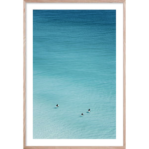 WAITING GAME  * Ocean style aerial wall art of surfers in the ocean