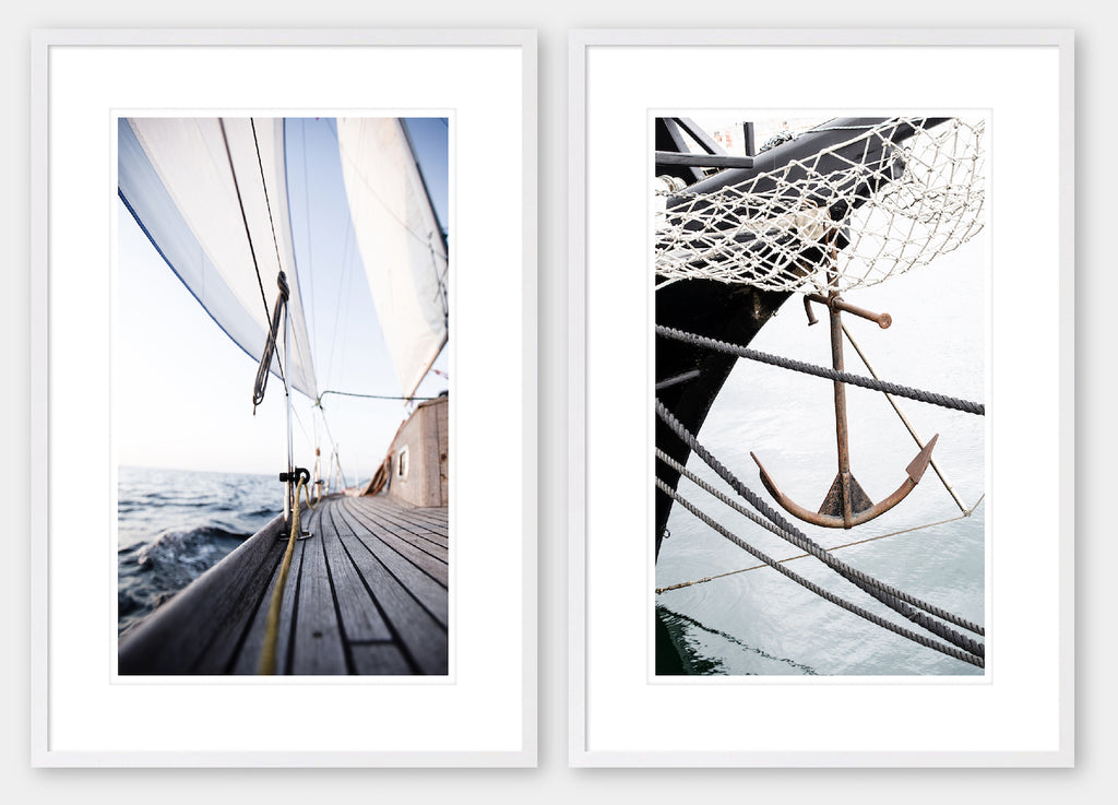 Sail Away 1 & 2 Pair - White Frame - Coastal, Hampton's style wall art