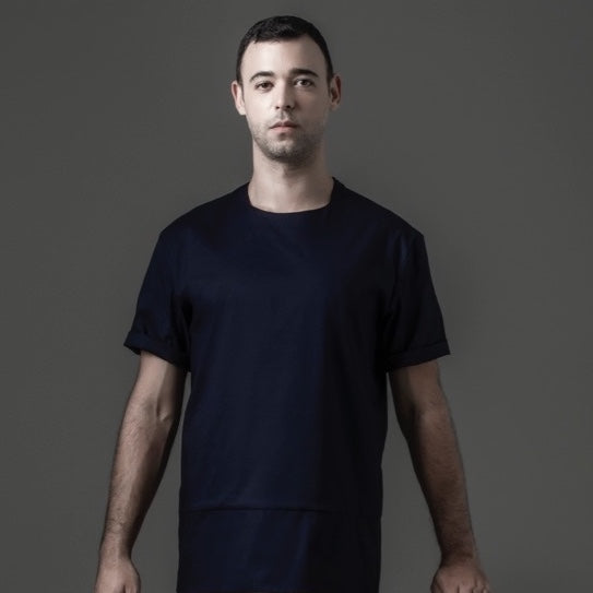 Basic Tee with Zipper - Navy