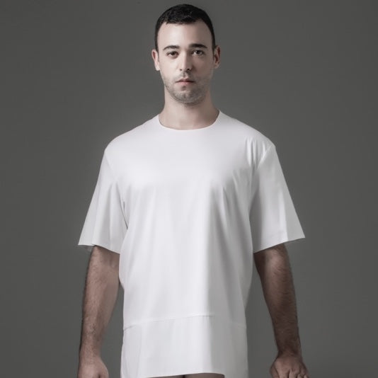 Basic Tee with Zipper - White