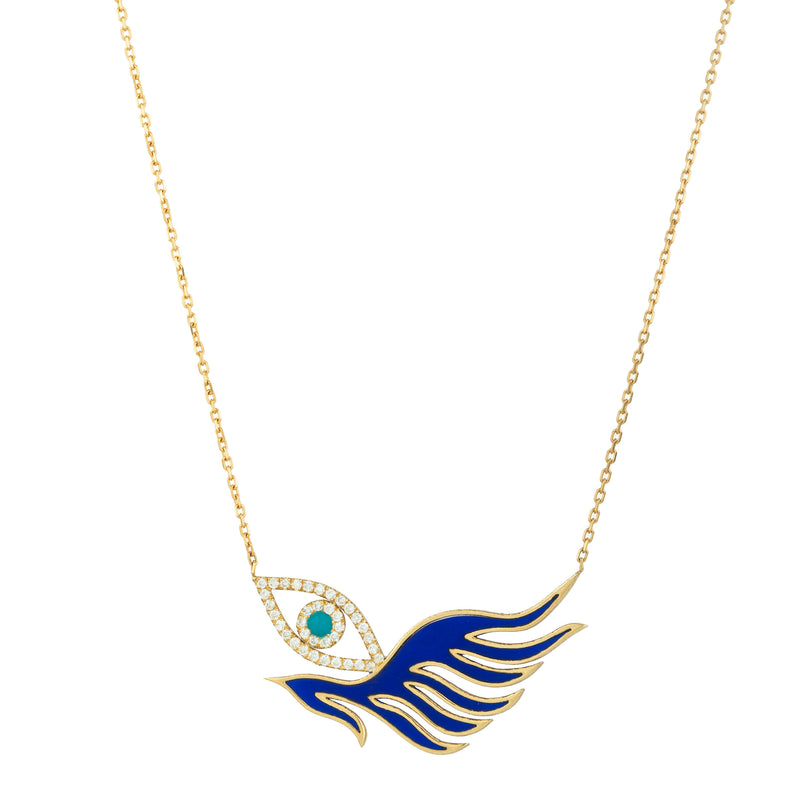 Diamond Eye with Enamel Wing Necklace