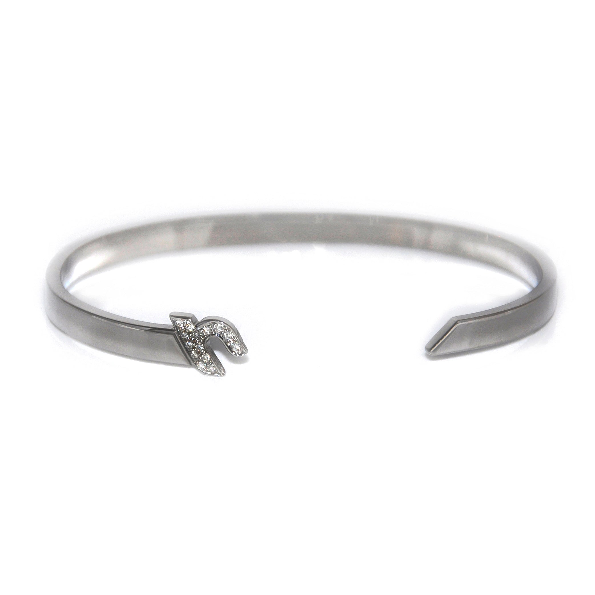 "Silver Cuff with Diamond ""أ"" - A"