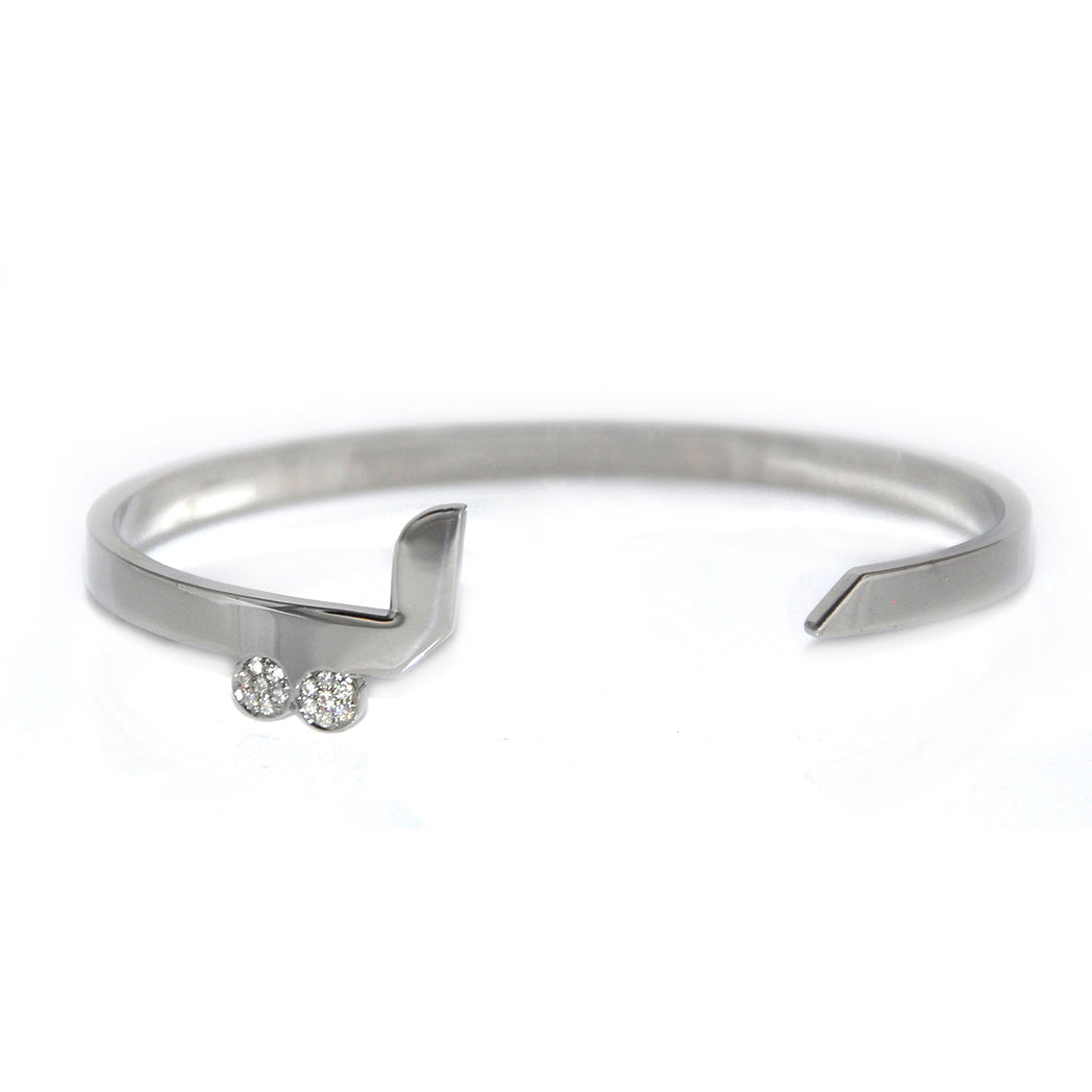 "Silver Cuff with Diamond ""ي"" - Y"