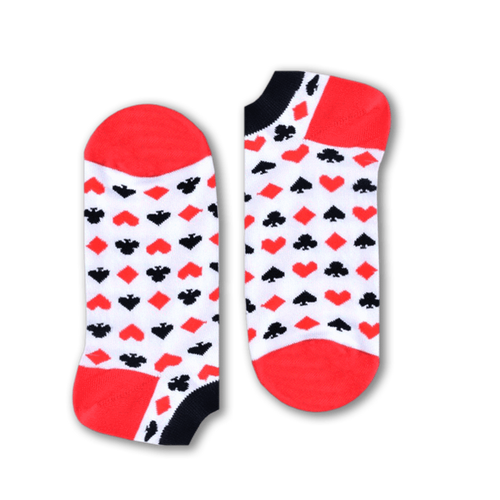Cards Short Socks (White) - Fouxx.com