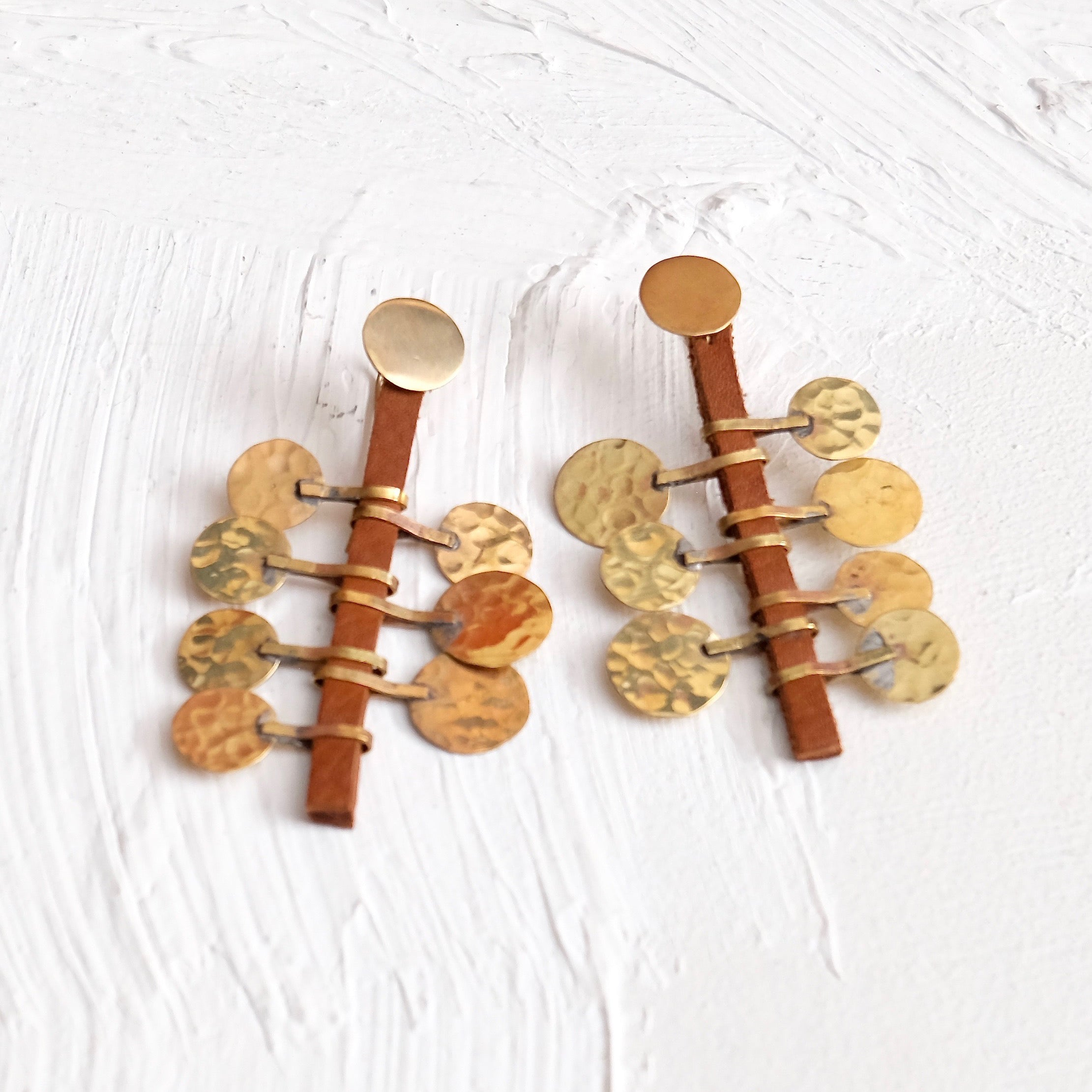 Floos Stem Earrings - Cognac