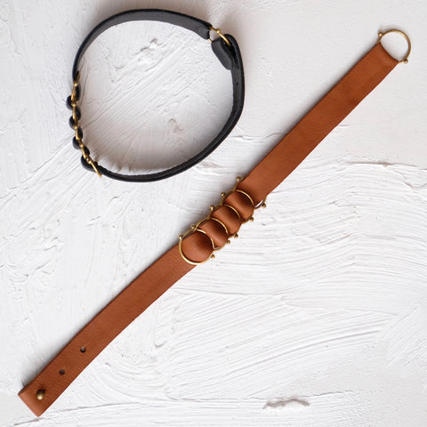 Hebba Leather Choker - Cognac