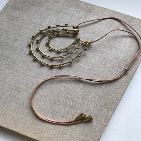 Hebba Tri-loop Nechlace on Leather
