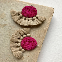 Crochet Disc Tassel Earrings - Fuchsia & Straw