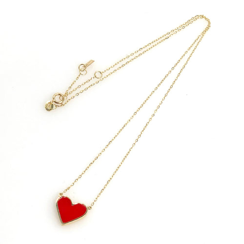 Red Heart Yellow Gold Necklace - Fouxx.com